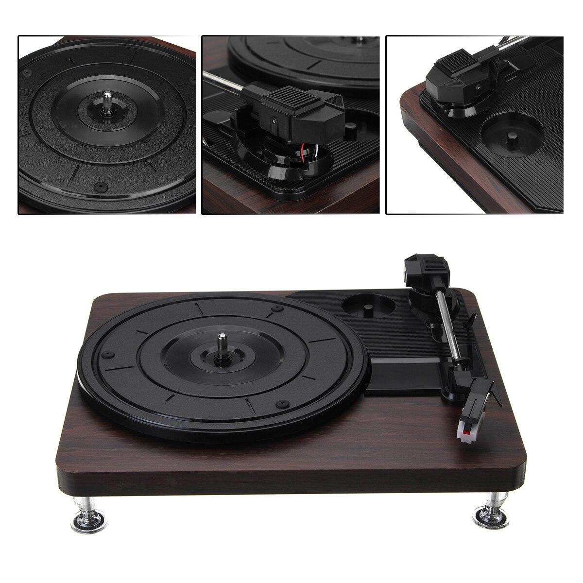 Lecteur de disque Antique Gramophone 33 tr/min disque vinyle Audio RCA R/L 3.5mm sortie USB DC 5 V chargeur couleur bois