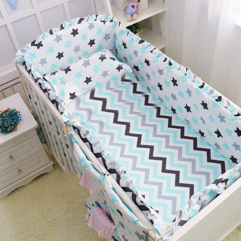 6Pcs Baby crib bedding Bumpers Cartoon Baby Bedding Bed Around Package Bed Sheets 100 Cotton Thickening