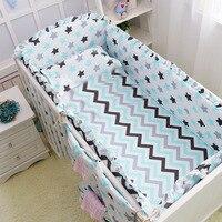 6 قطعة سرير طفل رضيع مصدات الكرتون الطفل الفراش السرير حول حزمة ملاءات السرير 100% القطن سماكة جميلة سرير الوفير