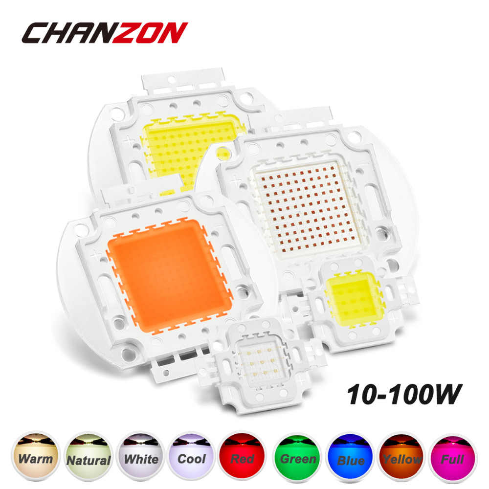 CHANZON 1pc High Power LED Chip 10W 20W 30W 50W 100W Warm Natural Cold White Red Green Blue Yellow RGB 440NM 660NM Full Spectrum