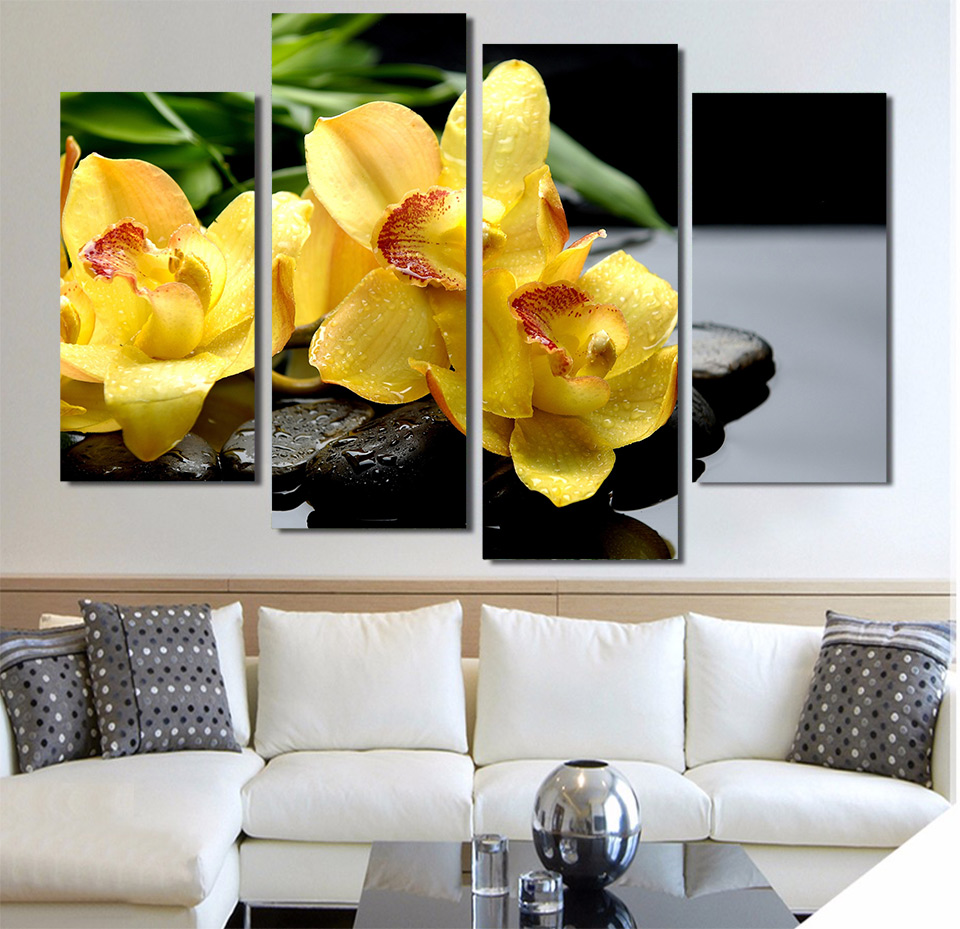 Print Canvas Painting orchids drops rocks water exotic Wall Art ...