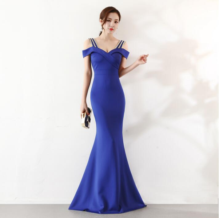 2019   evening     dress   long Mermaid prom   dress   simple graduation   dress   tretchable fabric   Evening   gown bridal shower vestido de noiva