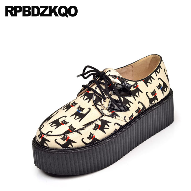 Creepers Round Toe Genuine Leather Shoes Women Platform Medium Heels Size 4 34 Kawaii Big Beige Wedge 2018 Harajuku Lace UpCreepers Round Toe Genuine Leather Shoes Women Platform Medium Heels Size 4 34 Kawaii Big Beige Wedge 2018 Harajuku Lace Up