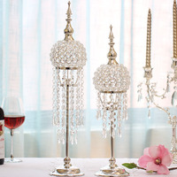 High End Europe Silver plated Candlestick Wedding Table Centerpiece Decoration Candlestand Modern Fashion Crystal Candle Holders