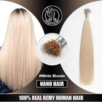 Nano Tip Remy Human Hair Extensions Pre Bonded Micro Beads Hair On Capsule White Blonde Color 16 Inch 0.8g/s Fairy Remy Hair