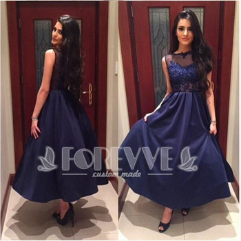 New Navy Blue Satin Prom Dresses 2017 Sheer Appliques Formal dress Party Dresses Beaded Evening Gown Robe De Soiree Longue