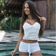 2019 nowy crop top Sexy kobiety lato Backless szydełka dzianiny plaża Knitting Halter Holloe Out Blet Cami Tank Crop Top s/M/L(China)