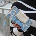 RU&BR PU Leather Women Wallets Flower Design Printed Dollar Price Card Holder  Clutch Bag Carteira Feminina Wallet Coin Purse