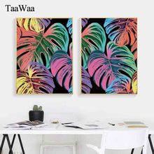 TaaWaa Nordic Art Colorful Leaf Canvas Painting Posters and Prints Scandinavian Style Decorative Wall Pictures For Living  Room