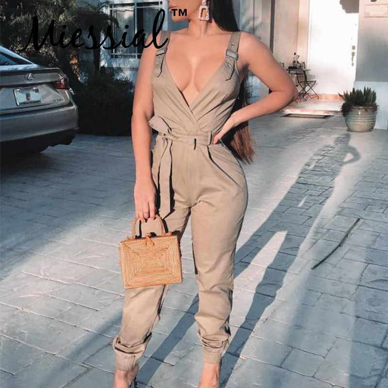 Miessial Sexy Sleeveless Bodycon Jumpsuit Women Winter Elegant Party Club Romper Female Jump Suit Khaki Long Playsuit Overalls