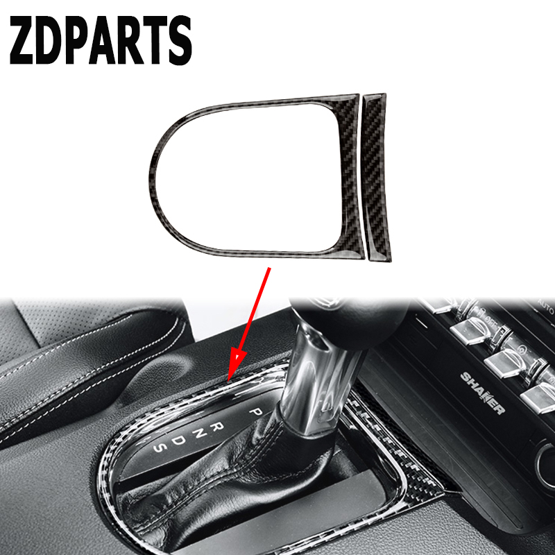 ZDPARTS Special For Ford Mustang 2015 2016 2017 GT500 GT 350 Carbon Fiber Gears Shift Panel  Carbon Fiber Sticker Accessories машина мет пламенный мотор 1 43 ford mustang gt откр двери цвета в ассорт