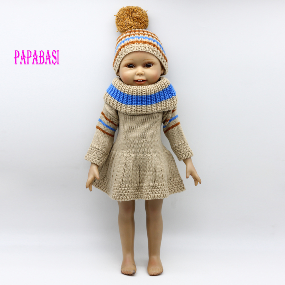 1set Hot sale new wools dress suit for 18 inch American girl dolls, fit baby born zapf dolls, gray and white white style new sexy vs045 1 6 black and white striped sweather stockings shoes clothing set for 12 female bodys dolls