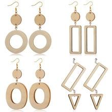 Retro Wooden Wood Rectangular Geometric Round Earrings Japanese Harajuku style Earrings Korean Temperament Simple Girl Earrings reticulated round silver earrings simple style earrings