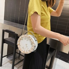 2019 Fashion Round Lace Women Summer Bag Pu Leather Circular Pink Flower Shoulder Bags Pearl Handbags Crossbody for