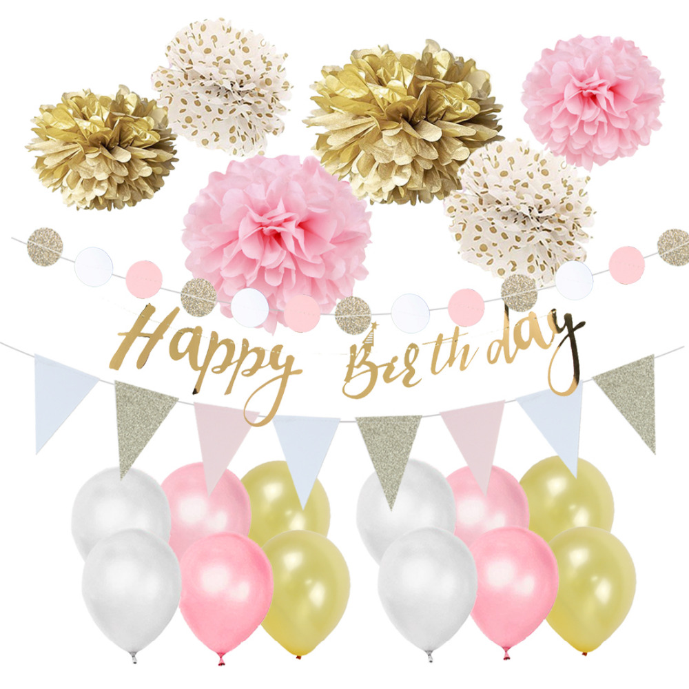6 Pink Garlands Tissue Paper Pom Poms flowers Ball for Birthday Party Decorations Happy Birthday Banner Bunting Kit Wartoon Happy Birthday Hanging Party Decorations Banner flags