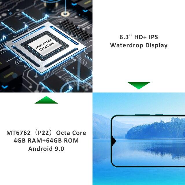 """LEAGOO S11 4 GB 64 GB telefon komórkowy Android 9.0 6.3 """"Waterdrop wyświetlacz Helio P22 Octa Core 13MP podwójny aparat Fingerprint smartfon"""