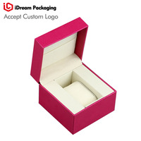 iDream luxurly watch gift box birthday packaging paper boxs Red color Quartz gift packaging accept logo custom size:11x11x8.5cm