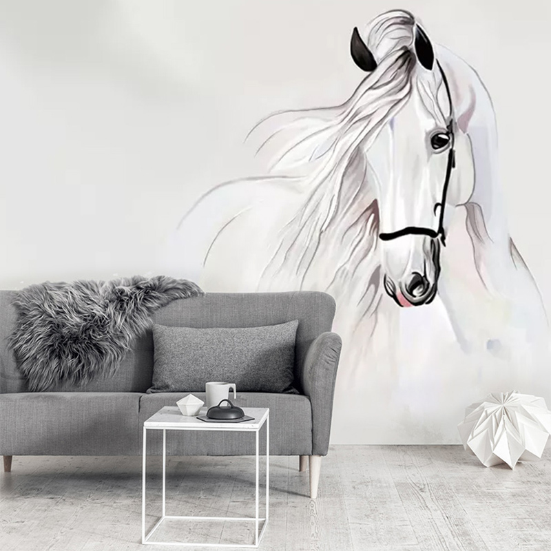Custom Photo Mural Wallpaper For Bedroom Walls 3D Hand Painted White Horse Abstract Art Wall Painting Living Room Decoration