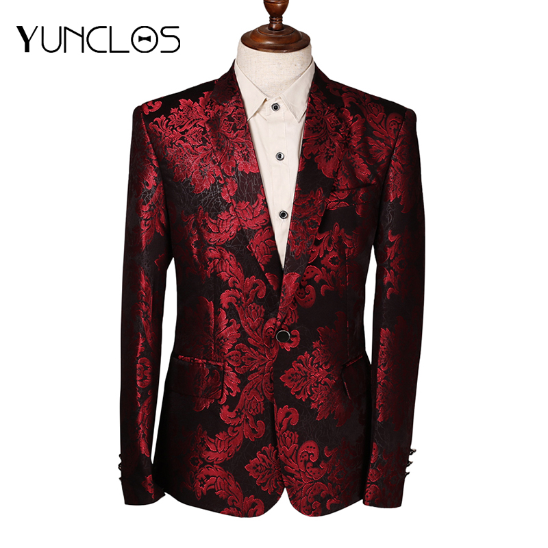 YUNCLOS  New Design Men Suit Jacket Fashion Red Jacquard Jacket Blazes Homme Marriage Masculino Best Men's Blazer Plus 6XL