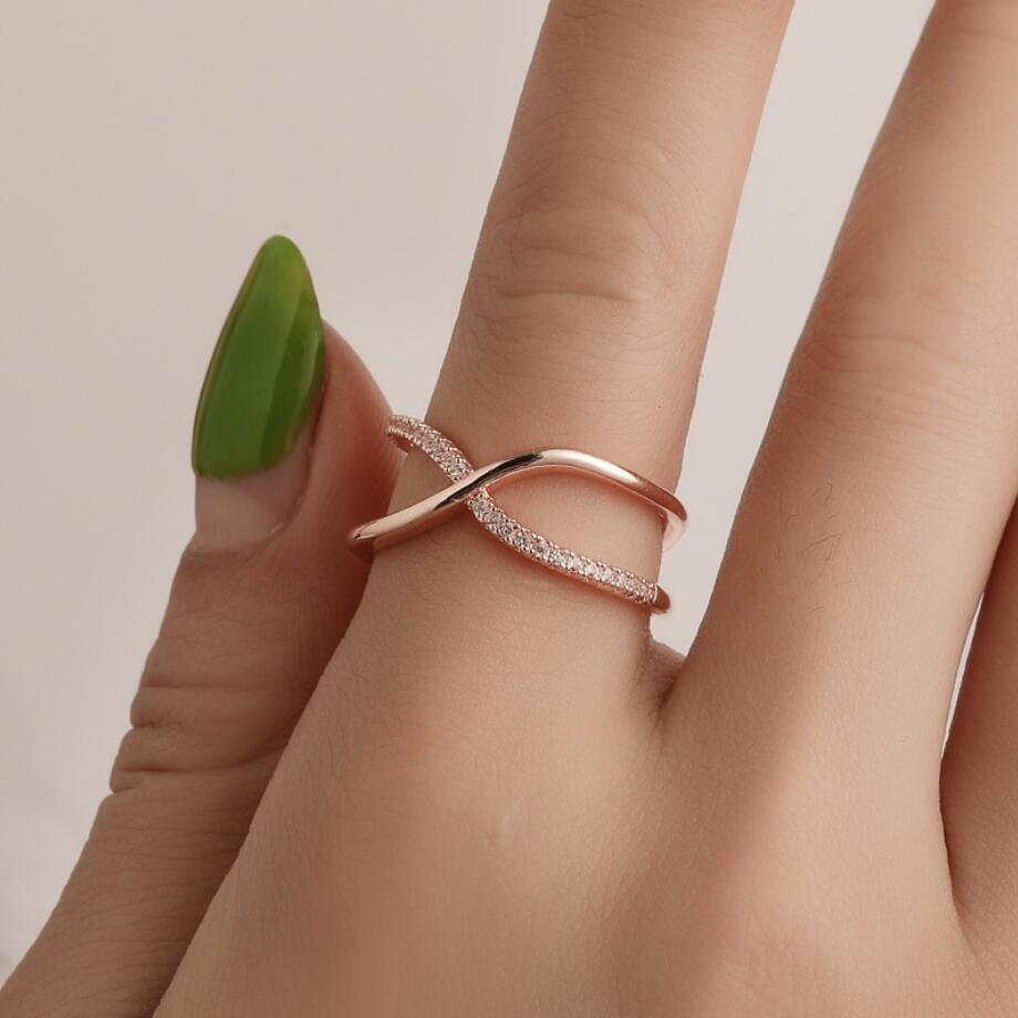 Finger X Rings for Women Valentine Present Fashion Spiral CZ Crystal Gold Silver Color Mid Ring Cubic Zirconia Promise Jewelry in Rings from Jewelry Accessories