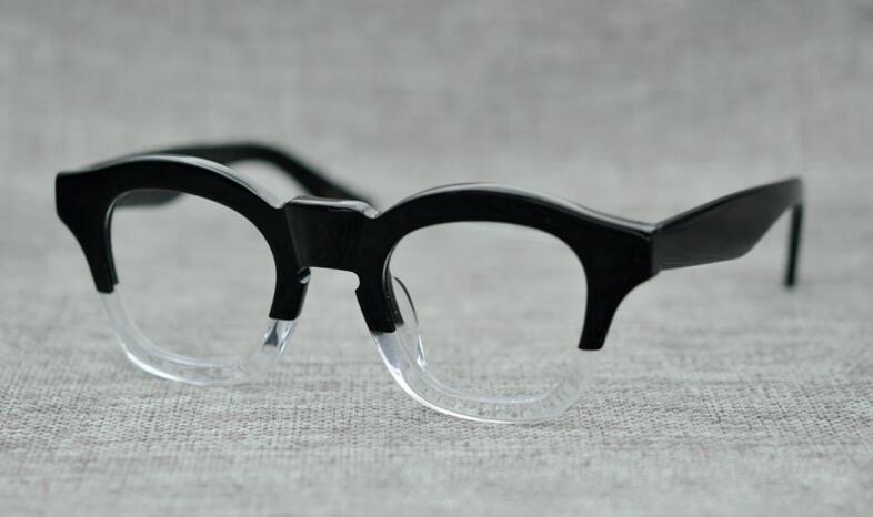 52856bcae46 LKK UNISEX high quality Handmade Japanese plate frame retro glasses  irregular frame thick frame street style-in Eyewear Frames from Apparel  Accessories on ...