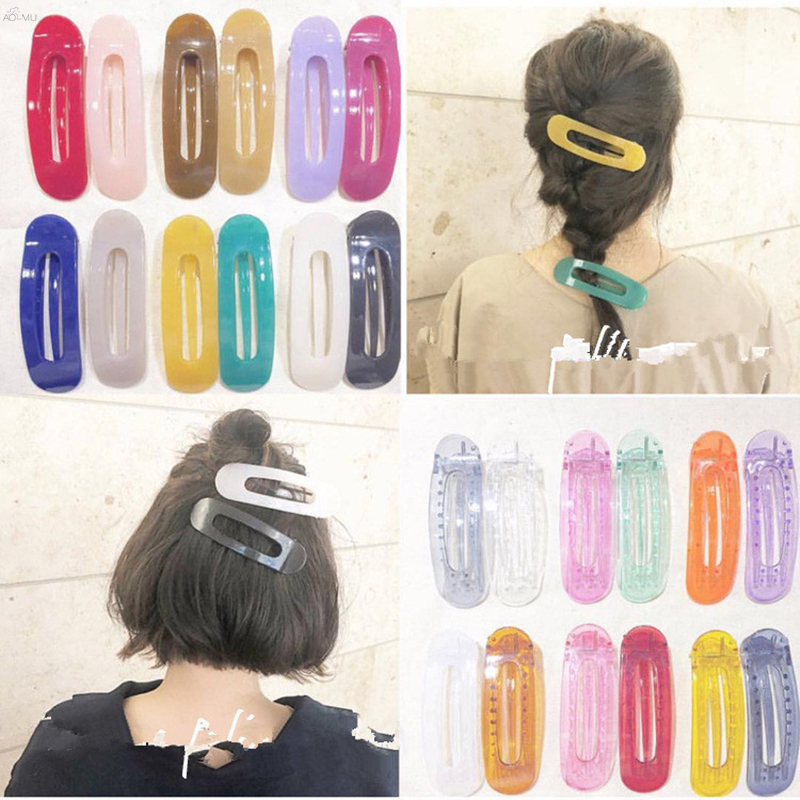 AOMU High-quality Women   headwear   Solid Big Hair Clips Japan Transparent Colorful Hairpins Barrettes for Girls Hair Accessories