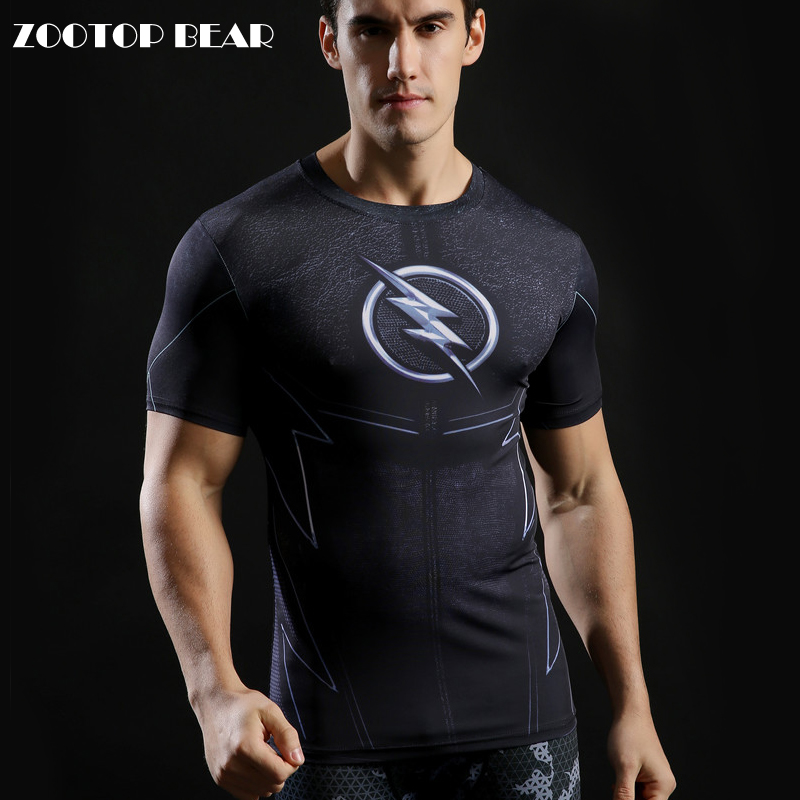 the Flash T-shirts Printed Men Tshirts Novelty 2017 Superhero Fitness Top Compression Shirt Tight Slim Camiseta Cool ZOOTOP BEAR