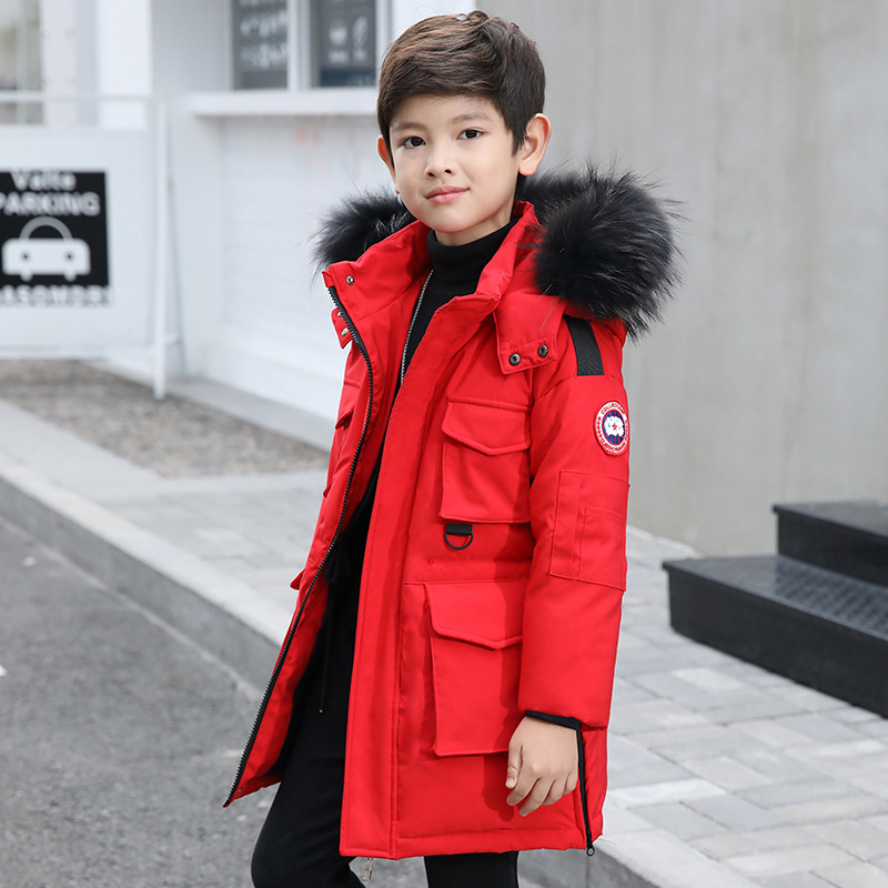 Boys' down jacket, long, 2018 winter new Korean version, thickened white duck down, big boy boy winter coat.