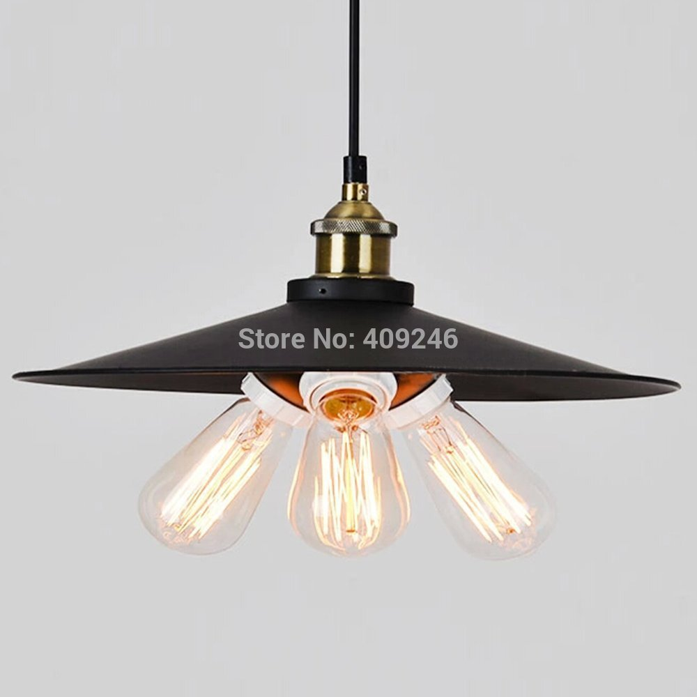 Loft Edison Vintage Industrial E27 Pendant Hanging Lights Cafe Bar Shop Restaurant Dining Room Droplight Dia.36cm Painted Finish loft industrial vintage edison wrought iron metal net led pendant lights lamp for cafe store shop hall dining room bedroom bar