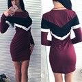 Kaywide mujeres otoño dress 2016 nueva llegada vestidos de manga larga ocasional del remiendo más el tamaño de bodycon lápiz elegante dress b2154