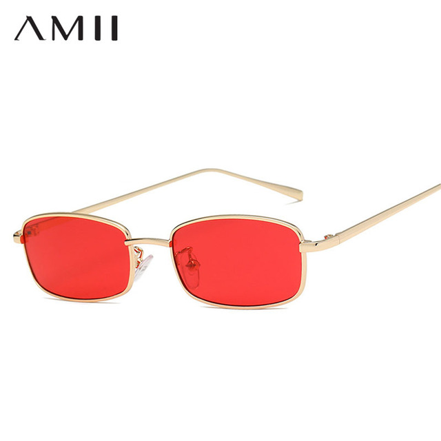 f963a24ce8 AMII 2018 Small Narrow Rectangle Sunglasses Women Men Brand Red Clear Lens  Skinny Slim Wire Retro