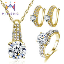 hot deal buy top quality aaa zircon jewelry sets necklace + earring + ring 2015 fashion jewelry sets