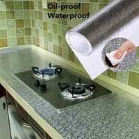 AsyPets 1M/2M/3M/5M Kitchen Oil-proof Stove Cabinet Stickers Self-adhesive Aluminum Foil Desk Drawer DIY Wallpaper 40cm Width