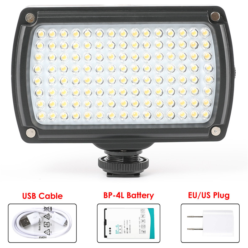 Universal 120 LED Video Lamp XH-120 Photo Studio Light Hotshoe Lighting Dimmable with Battery & USB Charger for Canon Nikon DSLRUniversal 120 LED Video Lamp XH-120 Photo Studio Light Hotshoe Lighting Dimmable with Battery & USB Charger for Canon Nikon DSLR
