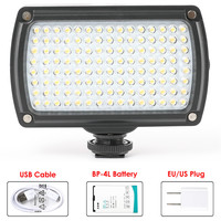 Universal 120 LED Video Lamp XH-120 Photo Studio Light Hotshoe Lighting Dimmable with Battery & USB Charger for Canon Nikon DSLR Photographic Lighting