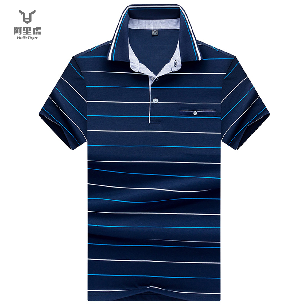 Hollirtiger Summer Mens Polo Shirts Striped Polo Shirt Men Standard Collar Pen Pocket Short Sleeve Top Wear For Men 2019