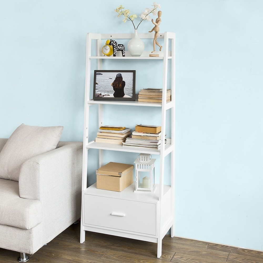 SoBuy FRG116-W, White Storage Display Shelving Ladder Shelf Bookcase with Drawer and 4 Shelves