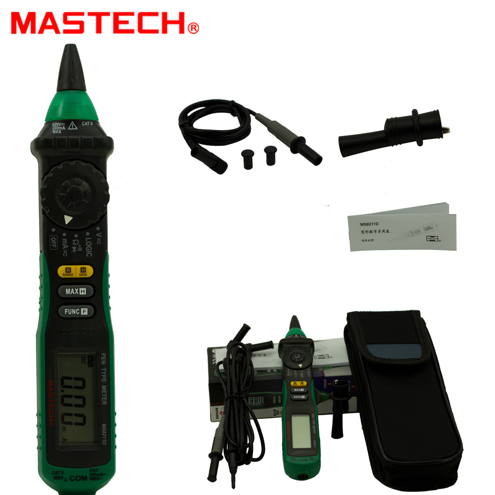 Professional Mastech MS8211 Pen-type Digital Multimeter Non-contact AC Voltage 600V Detector Auto-ranging Test Clip