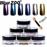 1g Box Shinning Mirror Nail Glitter Powder 6 Color Set Laser Chameleon Powder Nail Art Chrome