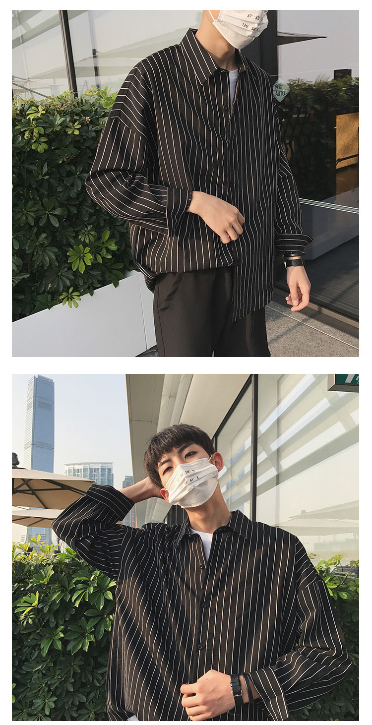 2019 Fashion Korean Style Streetwear Thin Striped Oversize Long Sleeve Men Shirt