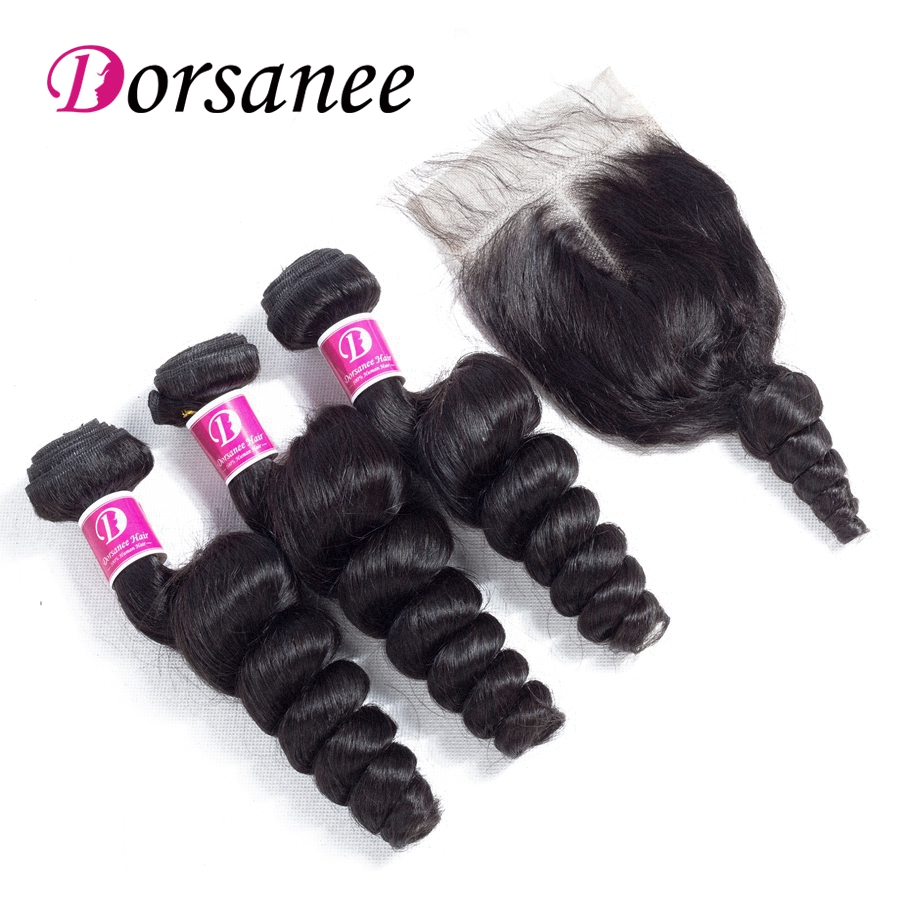 Dorsanee Indian Hair Loose Wave Hair Bundles with Closure Non Remy Human Hair Extensions Lace Closure Natural Color Free DHL