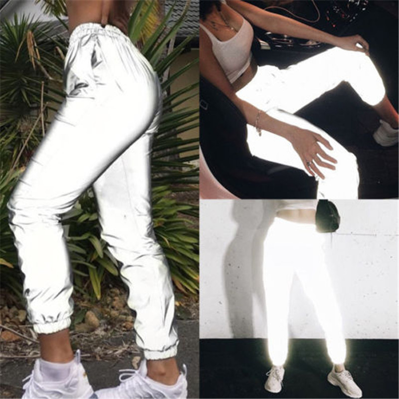 Women Casual Harem Sweatpants Reflective Pants Loose Streetwear Hip Hop Dance Party Night Club Trousers Pantalon W3