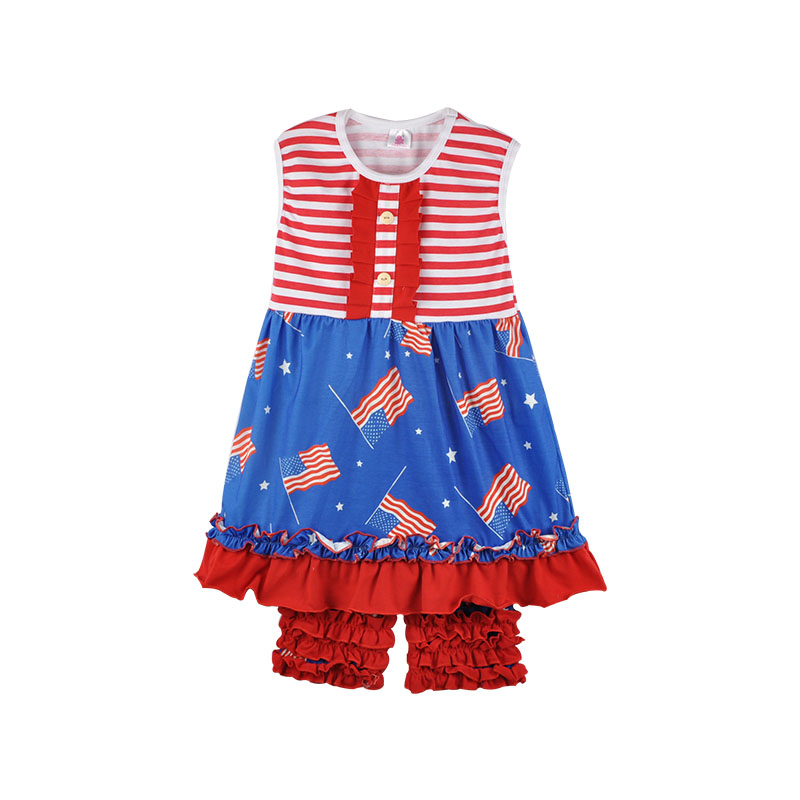 2017 July 4th New Design Baby Girls Striped Top With American Flag Red Ruffle Shorts Set Baby Summer Boutique Clothing J015