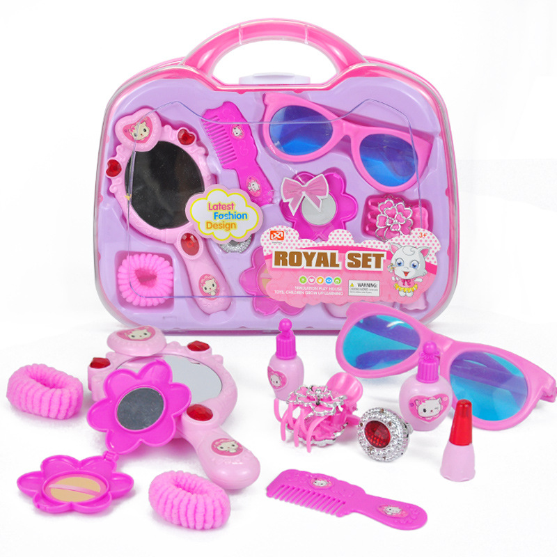 11pcs/set Dressing Play Toys Pink Plastic Beauty Salon Jewelry Box Toy Set For Baby Gift ...