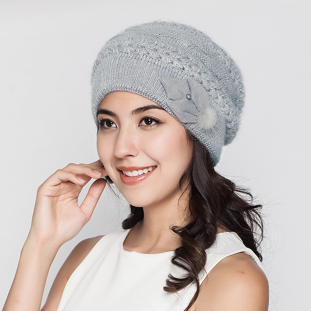 Women Winter Hats Female Beanies Wool Knitted Hat Thermal Double Layer Rabbit Fur Blends Casual Gorros Gorro