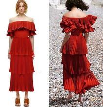 Urumbassa women's red off-shoulder dress 2018 summer runways ruffles slash neck layered dress Fashion ladies party dress