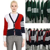 New 2017 100 Cashmere Couple V Collar Four Stripes Pure Cashmere Sweater Cardigan Sweater Girl
