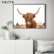 Highland Cow Canvas Poster and Print Animal Scandinavian Style Painting Decorative Picture Modern Living Room Nordic Decoration