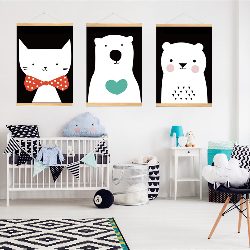 wooden frame Canvas Painting Art Print Poster wall Picture for Children Bedroom Decoration