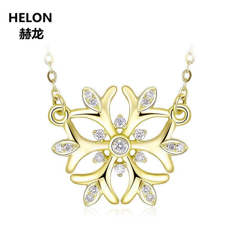 Solid 18k Yellow Gold Natural Diamonds Women Pendant Necklace Flower Pendant Engagement Wedding Anniversary Fine Jewelry